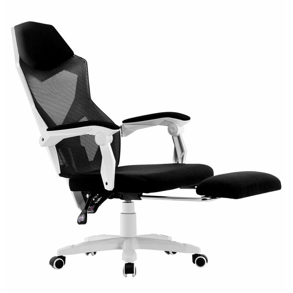 Boyel Living White Mesh High Back Adjustable Recliner Ergonomic Executive Office Chair With Footrest And Lumbar Support Hf Wf Of002 Wt The Home Depot