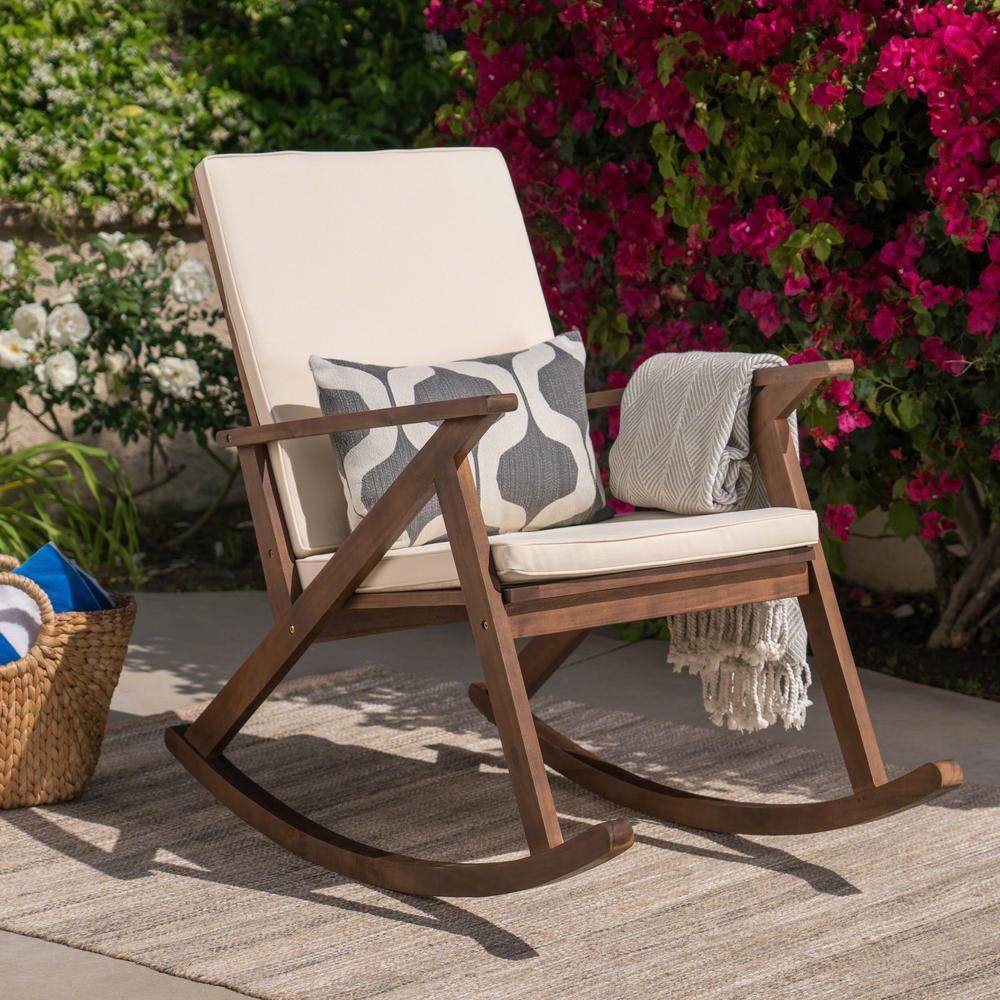 Gus Dark Brown Wood Outdoor Rocking Chair with Cream Cushion