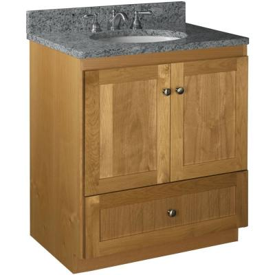 Shaker 30 in. W x 21 in. D x 34.5 in. H Simplicity Vanity with No Side Drawers in Natural Alder