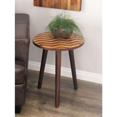 Wooden Chevron-Patterned Round Accent Table in Dark Brown