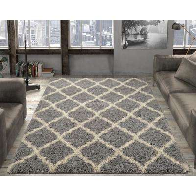 Ultimate Shaggy Contemporary Moroccan Trellis Design Grey 7 ft. 10 in. x 9 ft. 10 in. Area Rug