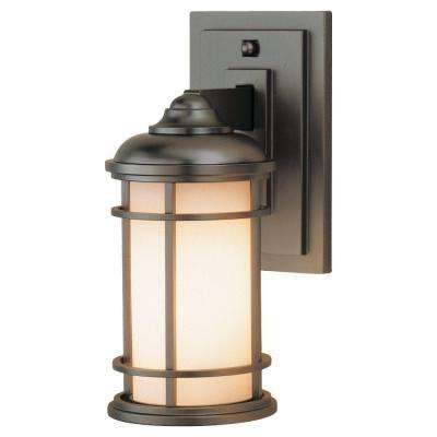 Lighthouse 1-Light Burnished Bronze Outdoor 11 in. Wall Lantern Sconce