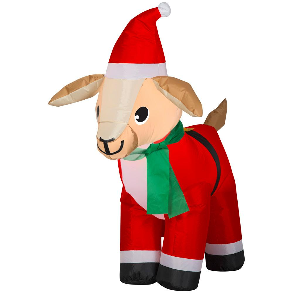 Christmas Goat.Home Accents Holiday 4 Ft Pre Lit Airblown Inflatable Christmas Goat