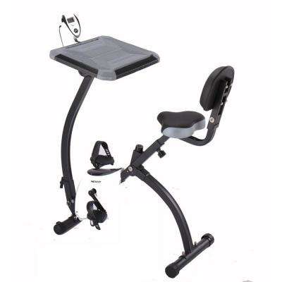 X-Magnetic Collapsible Fitness/Exercise Cycling Bike in Grey and White with Magnetic Resistance and Desk