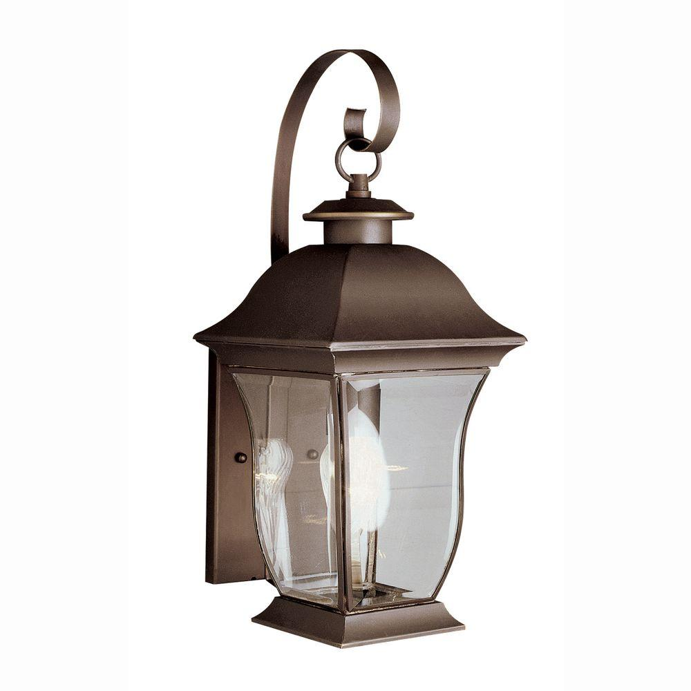Bel Air Lighting Wall Flower 1 Light Weathered Bronze Outdoor Coach Lantern With Clear Gl 4970 Wb The Home Depot