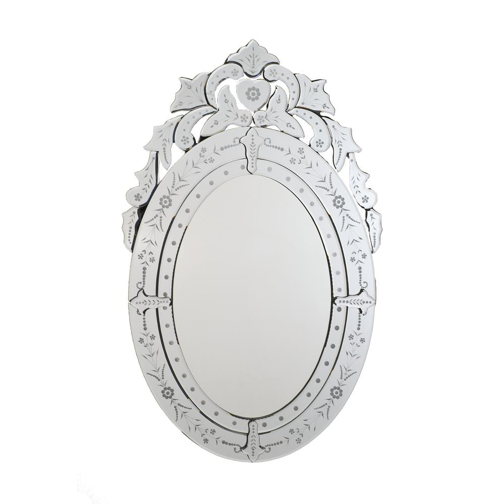 Afina Radiance Venetian 26 In X 41 In Framed Oval Traditional Cut Glass And Etched Wall Mirror In Clear Rm 101 The Home Depot