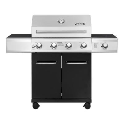 4-Burner Propane Gas Grill in Black with LED Controls and Side Burner