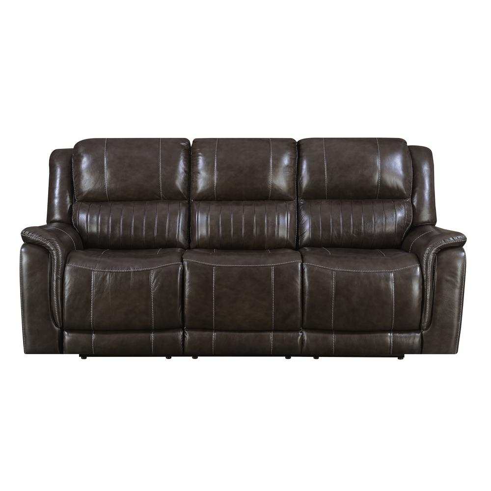 Brown Hearst Power Reclining Sofa with Power Headrests