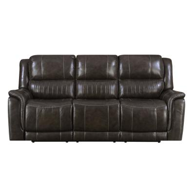 Right2Home Brown Hearst Power Reclining Sofa with Power Headrests, Brandon Gunmetal