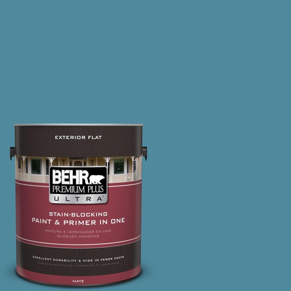 BEHR Premium Plus Ultra 1-gal. #S460-5 Blue Square Flat Exterior Paint