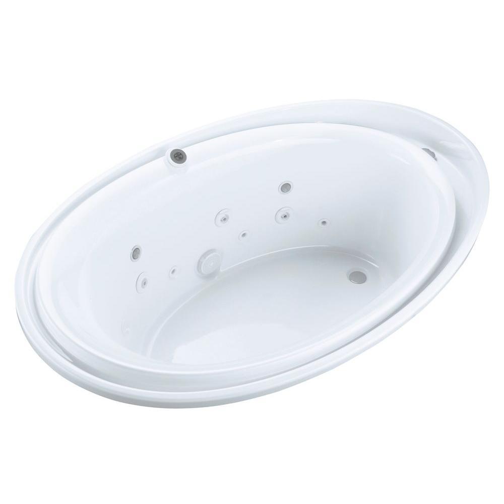 KOHLER Purist 6 ft. Acrylic Oval Drop-in Whirlpool Bathtub in ...