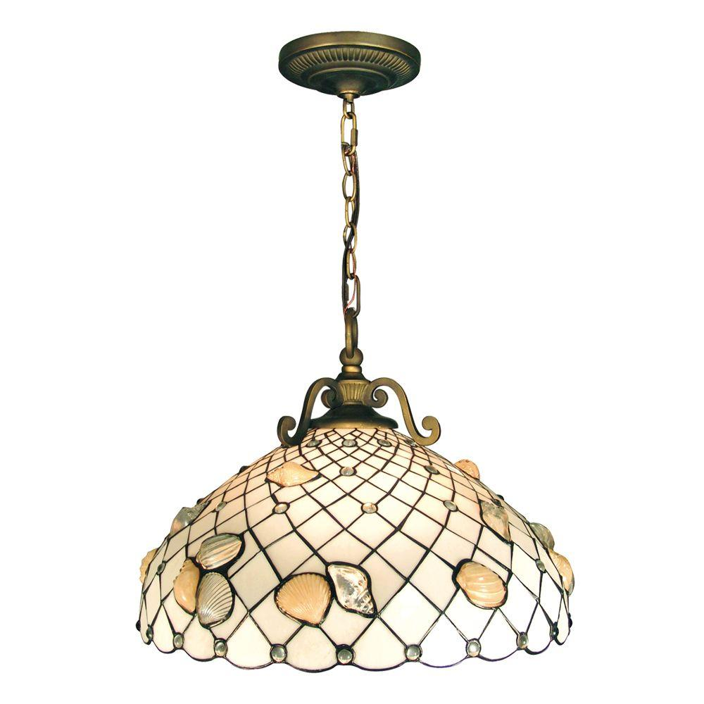 Dale Tiffany Shell 3-Light Hanging Antique Brass Pendant with Art Glass Shade-DISCONTINUED
