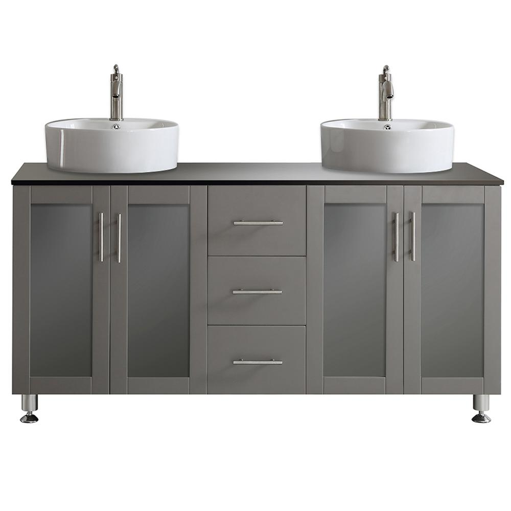 ROSWELL Tuscany 60 in. W x 22 in. D x 30 in. H Vanity in Grey with Glass Vanity Top in Black with Basin