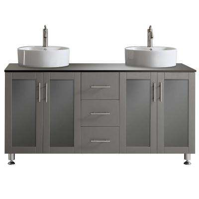 Tuscany 60 in. W x 22 in. D x 30 in. H Vanity in Grey with Glass Vanity Top in Black with Basin