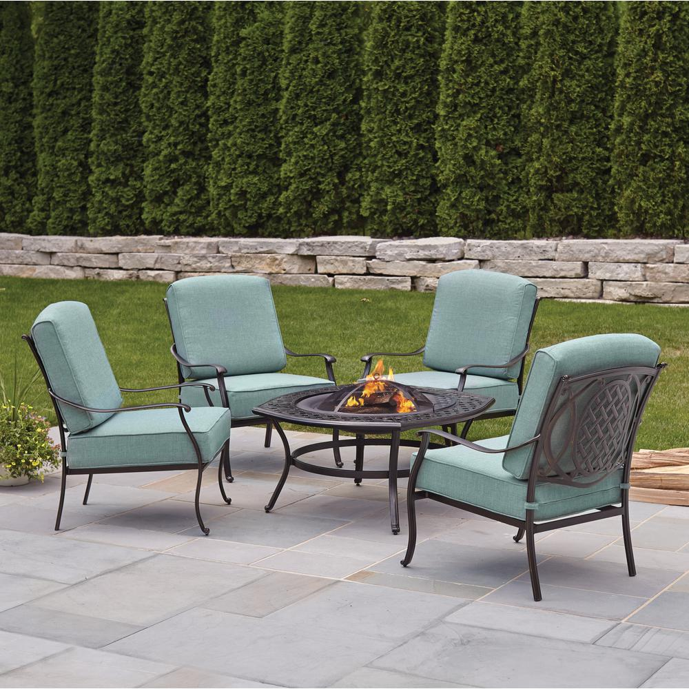 Hampton Bay Belcourt 5 Piece Metal Outdoor Patio Fire Pit Conversation Set  With Spa Cushions D11334 5FR   The Home Depot