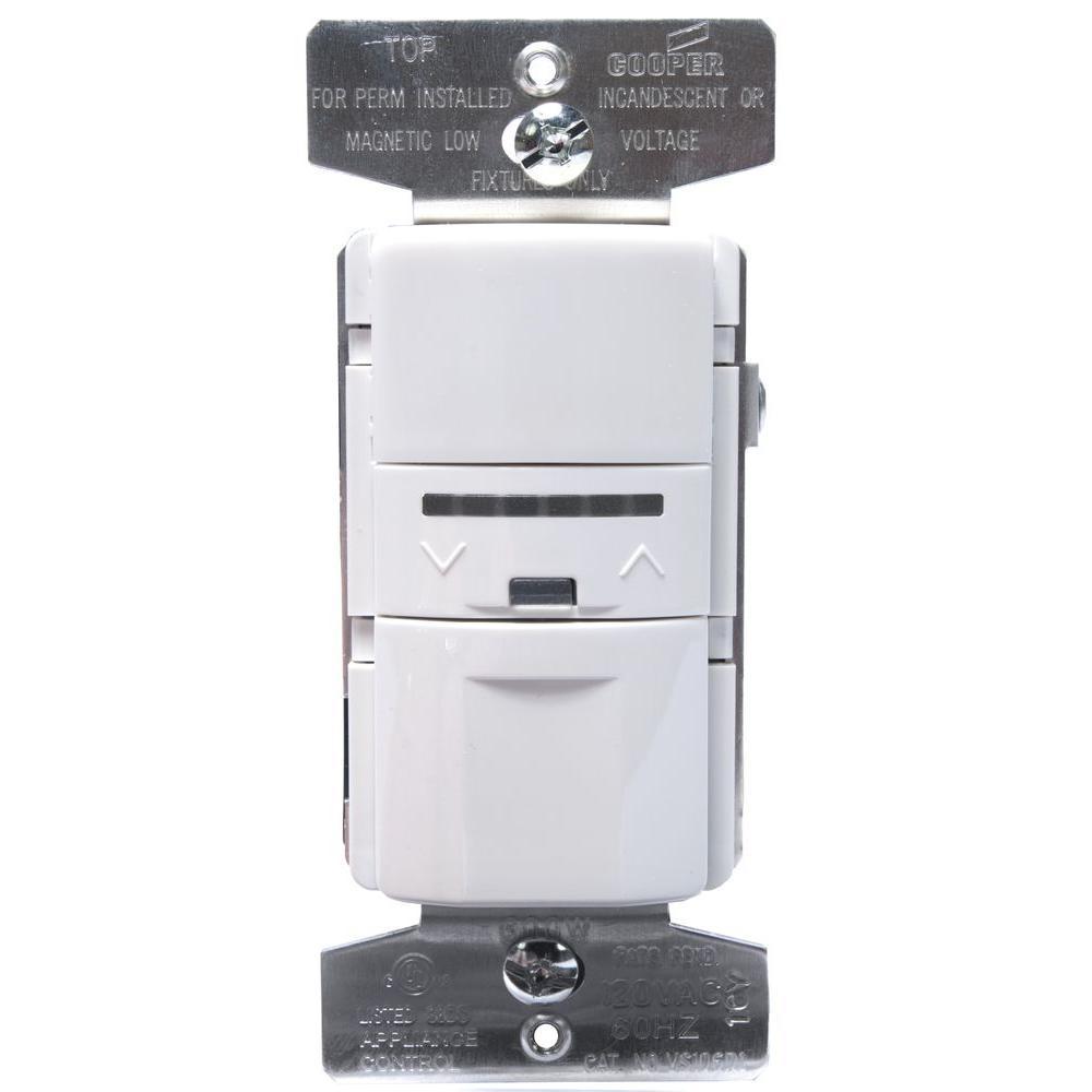 600-Watt INC/H/MLV Vacancy Sensor with Dimmer, White