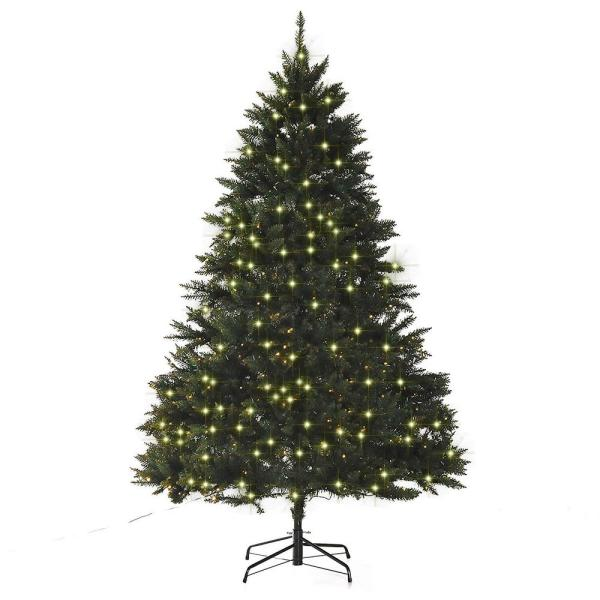 Homcom 7 Ft Pre Lit Led Douglas Fir Artificial Christmas Tree With 700 Warm White Lights And 2154 Tips 830 194 The Home Depot