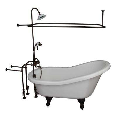 5.6 ft. Acrylic Ball and Claw Feet Slipper Tub in White with Oil Rubbed Bronze Accessories