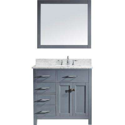 Caroline Parkway 36 in. W Bath Vanity in Gray with Marble Vanity Top in White with Square Basin and Mirror