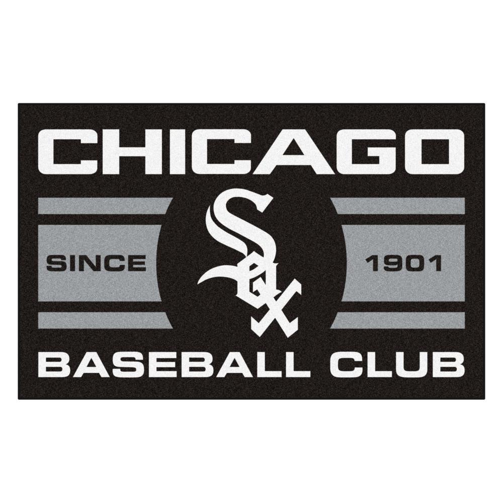 MLB Chicago White Sox Black 2 ft. x 3 ft. Area Rug