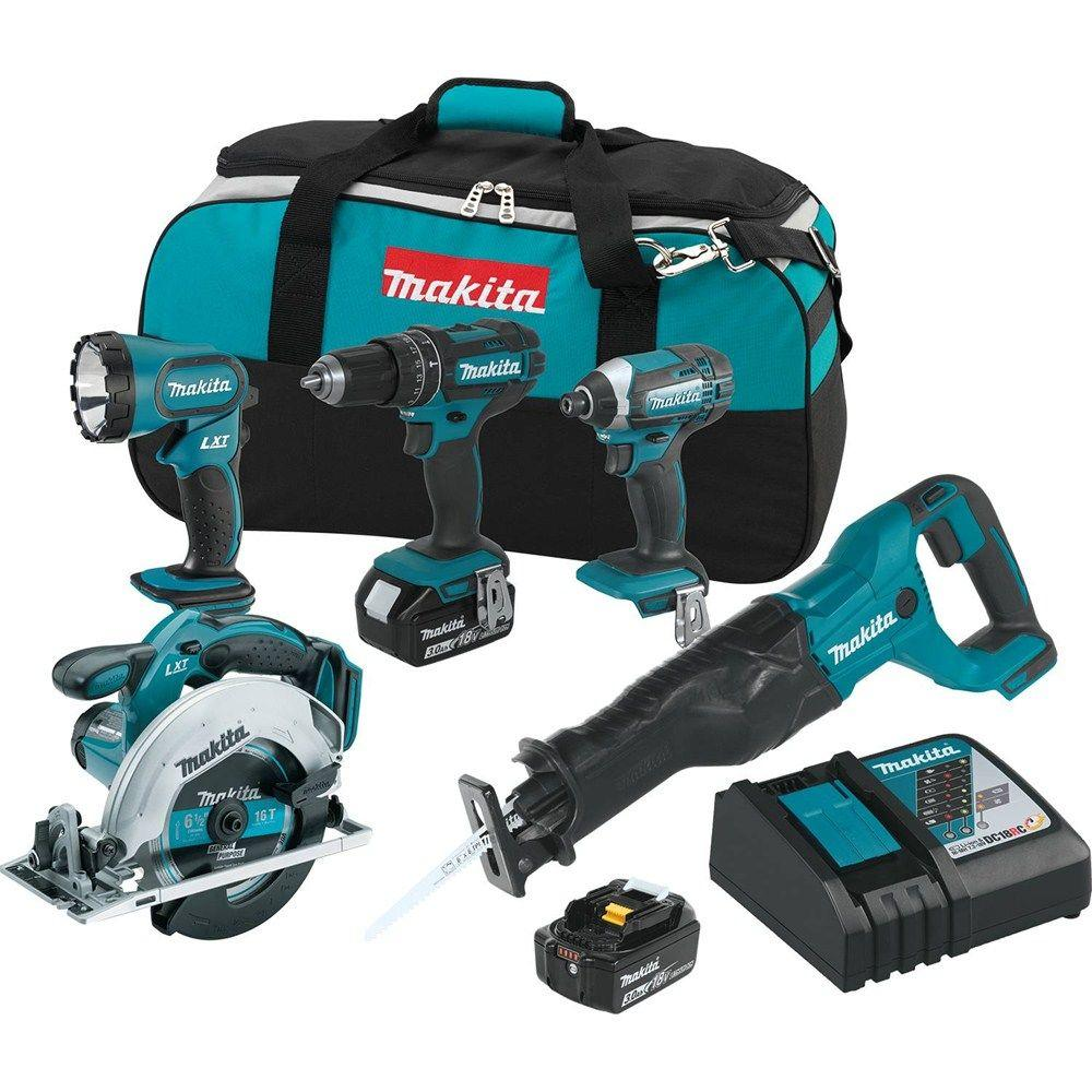makita power tools. makita 18-volt lxt lithium-ion cordless combo kit (5-tool) with (2) 3.0 ah batteries, rapid charger and tool bag-xt505 - the home depot power tools i