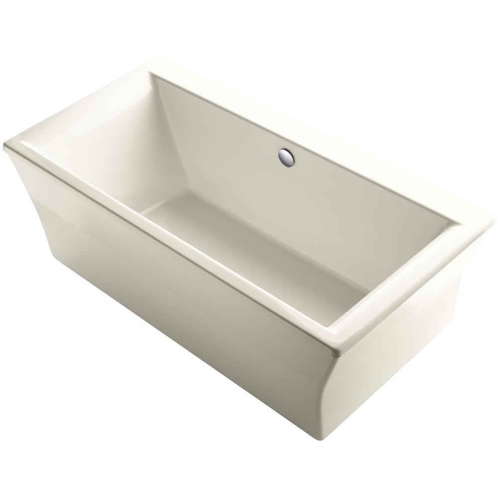 KOHLER Stargaze 6 ft. Acrylic Flat Bottom Center Drain Bathtub with ...