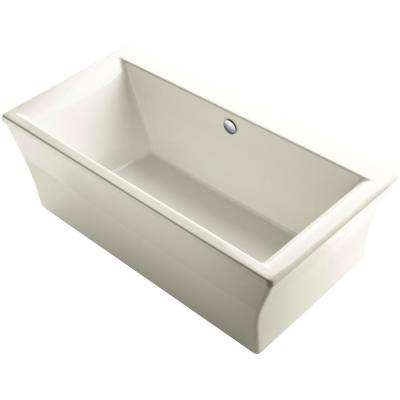Stargaze 6 ft. Acrylic Flat Bottom Center Drain Bathtub with Fluted Shroud in Biscuit
