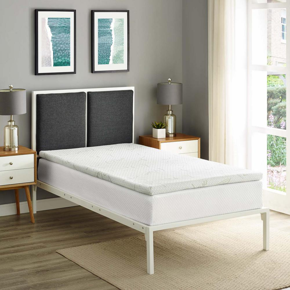 Relax Twin 2 in. Gel Memory Foam Mattress Topper in White