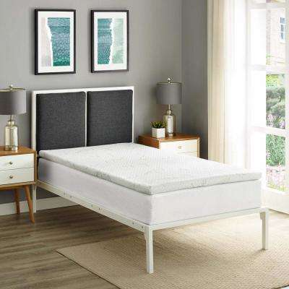 Relax Twin 2 in. Gel Memory Foam Mattress Topper in White