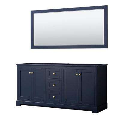 Avery 71 in. W x 21.75 in. D Bathroom Vanity Cabinet Only with Mirror in Dark Blue