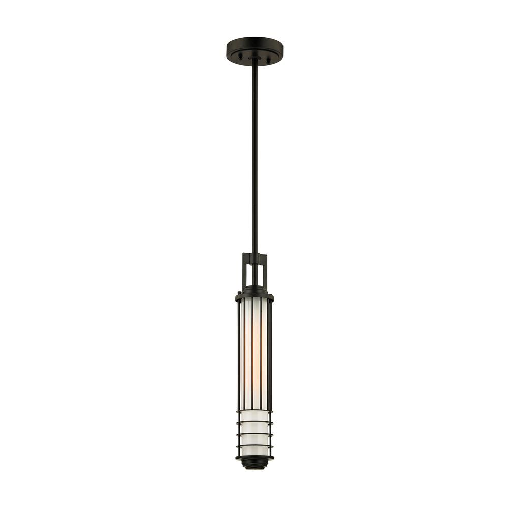 Troy Lighting Powell Street Bronze 1-Light 5.25 in. W Outdoor Hanging Light with Opal White Glass