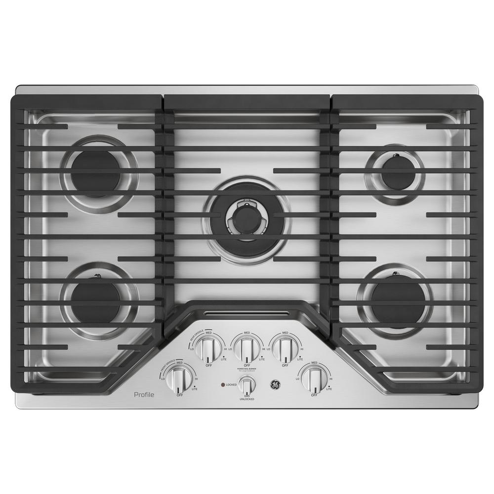 30 in. Gas Cooktop in Stainless Steel with 5 Burners Including