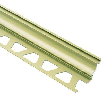 Dilex-AHK Satin Brass Anodized Aluminum 1/2 in. x 8 ft. 2-1/2 in. Metal Cove-Shaped Tile Edging Trim