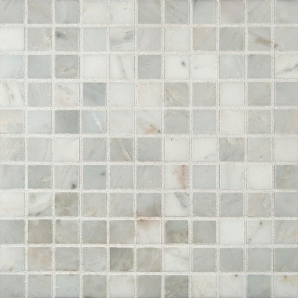 Ms international arabescato carrara 12 in x 12 in x 10 mm honed marble mesh mounted mosaic - Mosaic kitchen ...