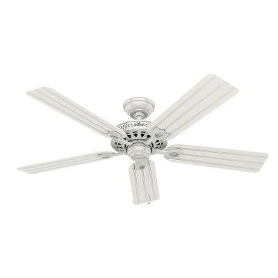 Beachcomber 52 in. Indoor White Ceiling Fan with Light Kit Bundled with Handheld Remote Control