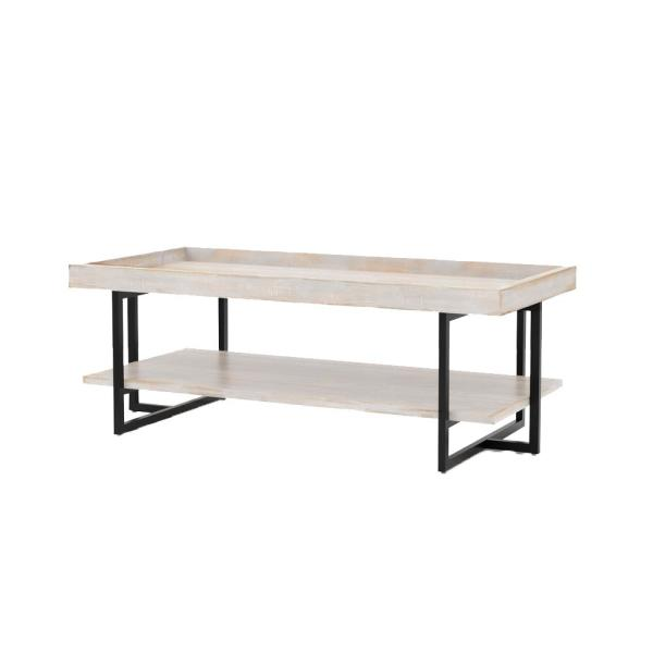Triblisi 18.5 in. H Antique White and Black Coffee Table