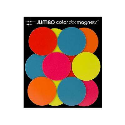 Jumbo Color Dot Magnets, Assorted (12-Pack)