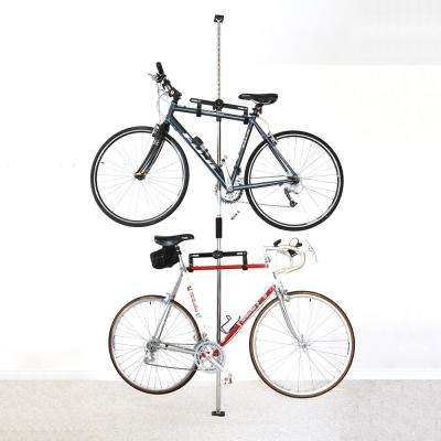 Sparehand Q-Rak II Floor-To-Ceiling Freestanding Adjustable Bike Rack Storage, Max Weight Limit 80 lbs., Chrome