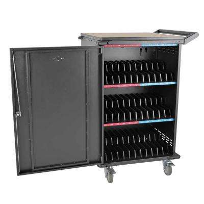 36-Device AC Charging Station Cart for Chromebooks and Laptops, Black