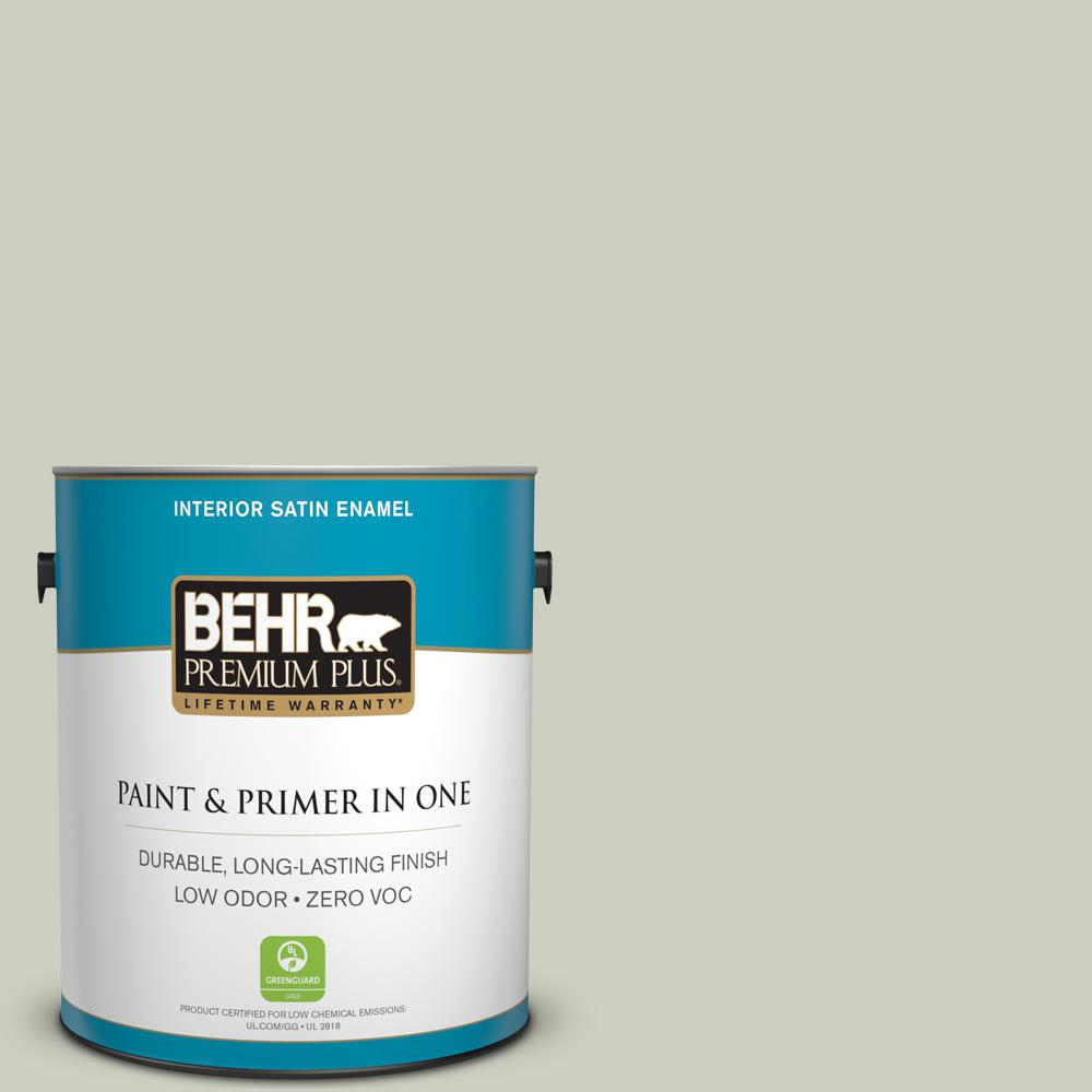1 gal. #PPU10-11 Sliced Cucumber Zero VOC Satin Enamel Interior Paint