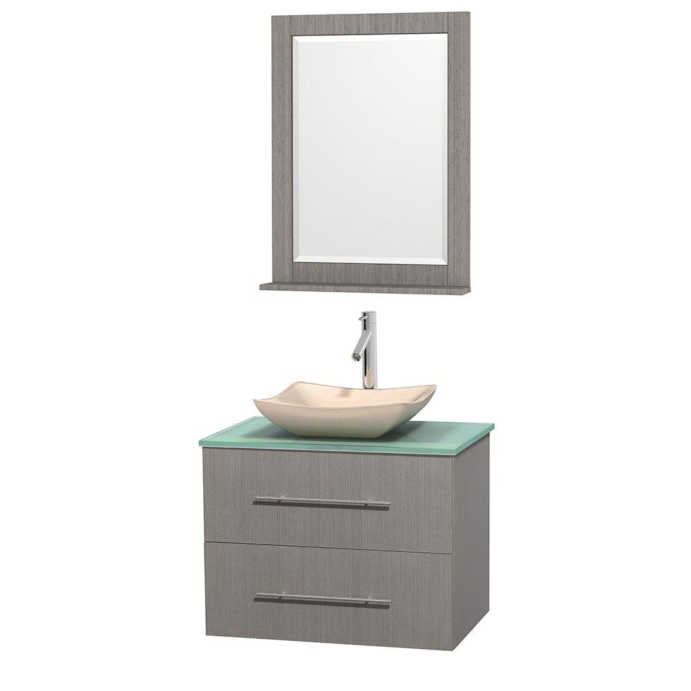 Wyndham Collection Centra 30 in. Vanity in Gray Oak with Glass Vanity Top in Green, Ivory Marble Sink and 24 in. Mirror