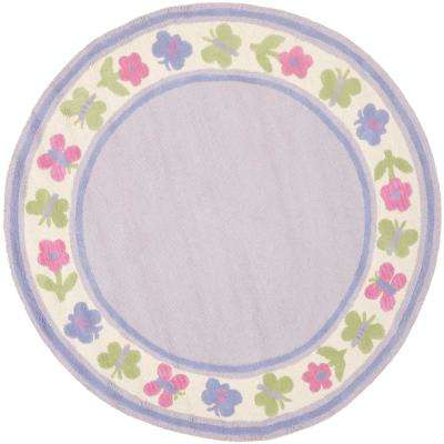 Kids Lavender/Multi 6 ft. x 6 ft. Round Area Rug