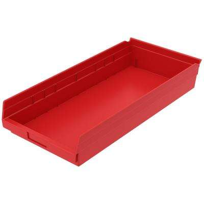 Shelf Bin 20 lbs. 23-5/8 in. x 11-1/8 in. x 4 in. Storage Tote in Red with 2.5 Gal. Storage Capacity