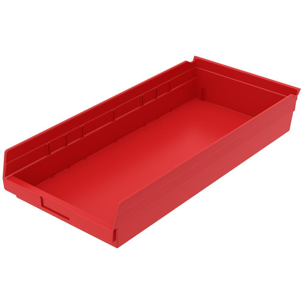 Akro-Mils Shelf Bin 20 lbs. 23-5/8 in. x 11-1/8 in. x 4 in. Storage Tote in Red with 2.5 Gal. Storage Capacity