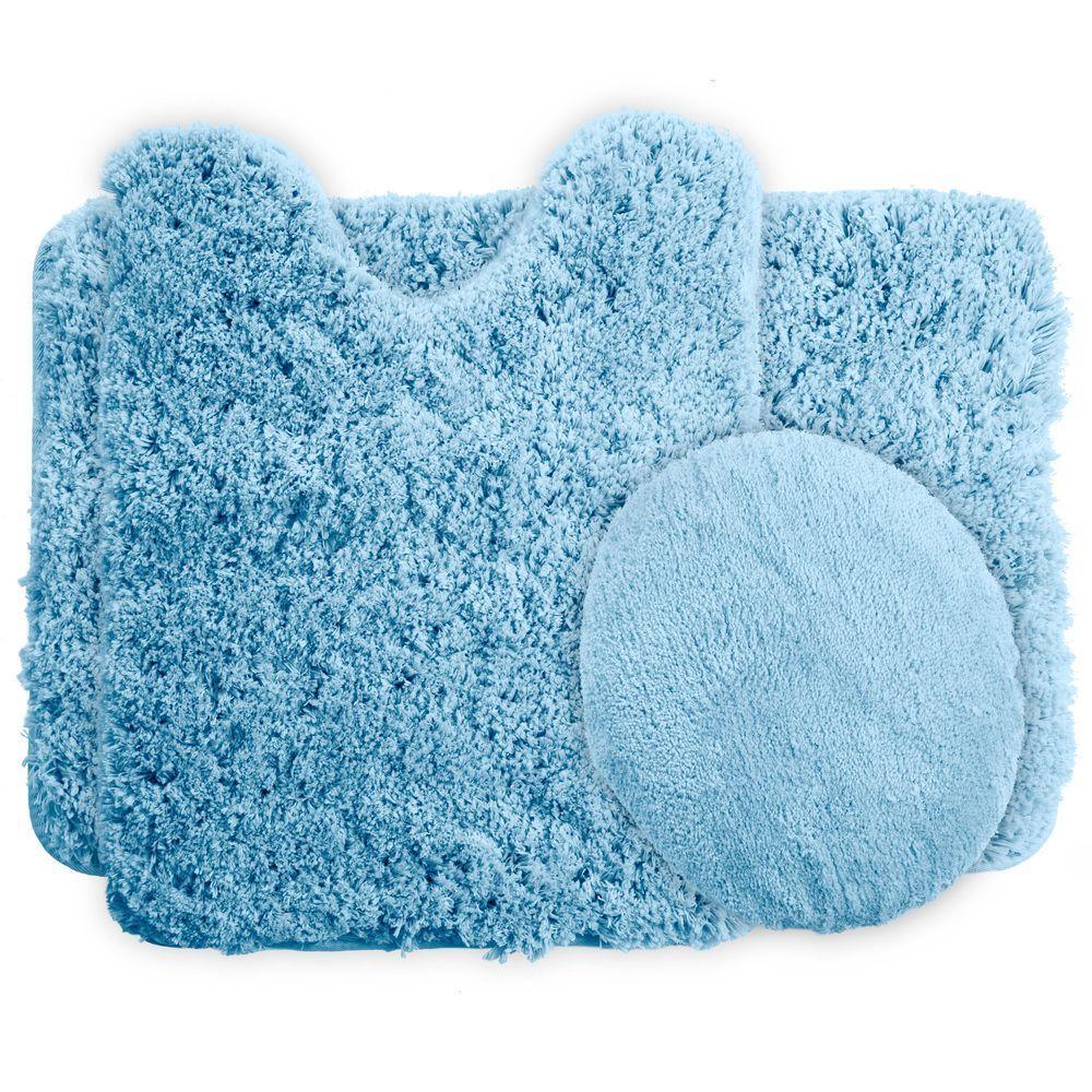 Lavish Home Blue 19.5 in. x 24 in. Super Plush Non-Slip 3-Piece Bath ...
