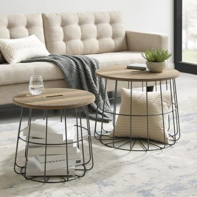 Renville Metal and Wood Nesting Basket Tables
