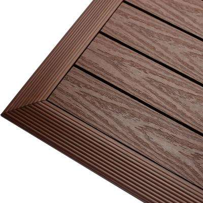 1/6 ft. x 1 ft. Quick Deck Composite Deck Tile Outside Corner Trim in California Redwood (2-Pieces/box)