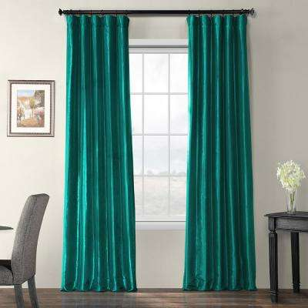 Largo Teal Blue Blackout Faux Silk Taffeta Curtain - 50 in. W x 120 in. L