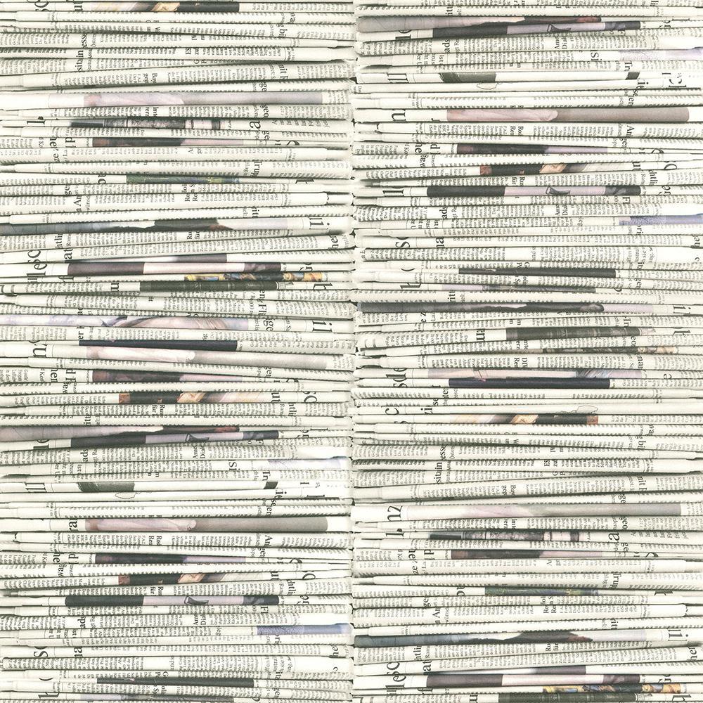 56.4 sq. ft. Marley White Newspaper Wallpaper