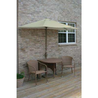 Terrace Mates Genevieve 5-Piece Coffee Patio Bistro Set with 9 ft. Antique Beige Olefin Half-Umbrella